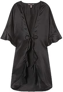 Sexy Satin Kimono Black Ruffle Robe