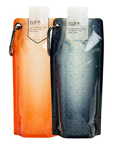 Tap Multi Function Collapsible Water Bottle BPA Free Flat Hydration Soft Canteen (Orange 1 + Navy 1)