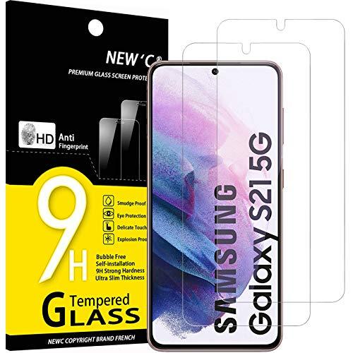 NEW'C 2 Unidades, Protector de Pantalla para Samsung Galaxy S21 5G (6.2'), Antiarañazos, Antihuellas, Sin Burbujas, Dureza 9H, 0.23 mm Ultra Transparente, Vidrio Templado Ultra Resistente