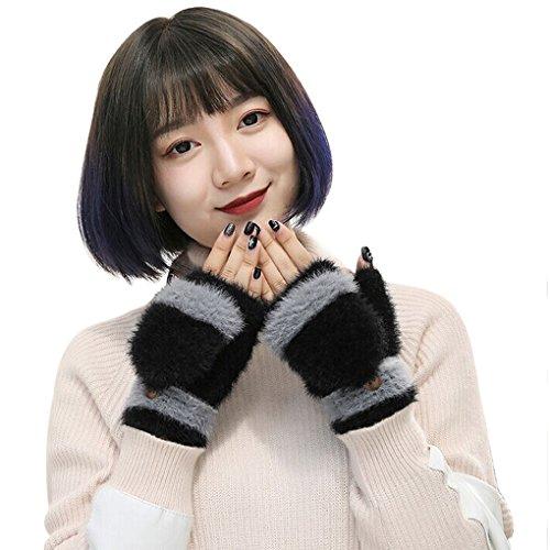 YSXY Damen Fingerlose Handschuhe Thermohandschuhe Fäustlinge mit Knopf Klappe für Frauen und Mädchen Winter Warm Strickhandschuhe Winterhandschuhe, Schwarz, Einheitsgröße