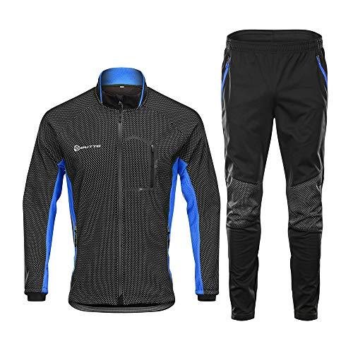 d.Stil Herren Fahrradbekleidung Set Langarm Fleece UV- Schutz Radjacke + Fahrradhose M - 3XL (Schwarz-Blau, XXXL)
