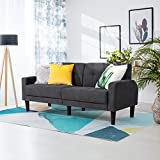 Vongrasig 63'' Small Loveseat Furniture, Modern Fabric 2-Seat Sofa Couch Mid Century Space Saving Love Seat Couch for Living Room Bedroom Apartment Dorms Studios Small Space (Dark Grey)
