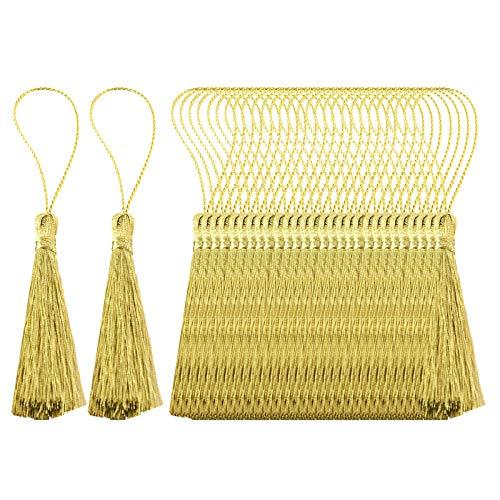 perfeclan 30 Pz 10 Cm Silky Floss Segnalibro Nappe Cord Loop Piccolo Nodo Cinese per Monili Che Fanno Souvenir Segnalibri Accessorio Artigianale Fai da Te - Oro
