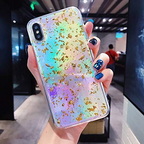 KONGMM Estuche Láser para iPhone 7 8 Plus 6 6S Fashion Gold Foil Glitter Bling Caja De Teléfono De Mármol para iPhone X 7 8 6 6 S Plus Cubierta De Silicona-Gold Laser,For iPhone 8 Plus