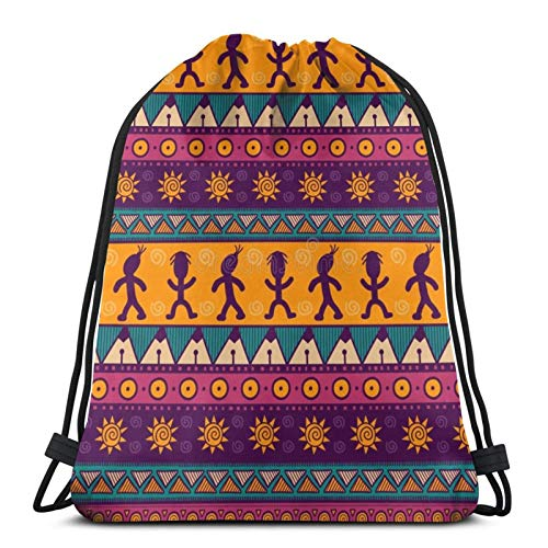 fenrris65 Drawstring Bag Colorful Aztec String Backpack Terylene for Men Women
