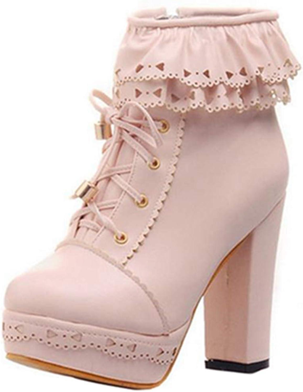 SJJH Women Cute Laces Ankle Boots