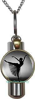 Ballerina Silhouette URN,Ballerina Cremation URN Necklace,Photo Ballerina Jewelry,Dancer Silhouette Art URN,Black White Ballet Dancer Cremation URN Necklace,Q0119