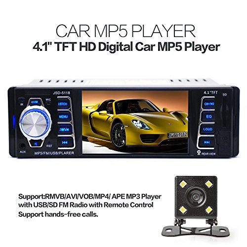 5118 4.1 pulgadas 1 din 50 W x 4 ch coche radio estéreo Bluetooth MP3 reproductor MP5 USB de la ayuda/FM/TF/AUX con cámara de visión trasera