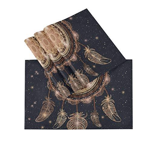 Juego de 4 manteles individuales, manteles individuales lavables con aislamiento térmico,Native American Indian Talisman Dreamcatcher Magic 18 x 12 pulgadas Mantel individual de cocina para mesa de c