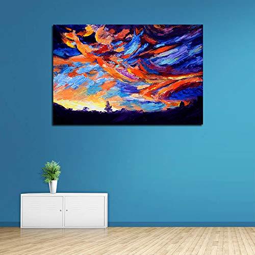 Wfmhra Colorido Cielo crepuscular Pintura al óleo HD impresión Imagen de Puesta de Sol para decoración del hogar Lienzo Arte Pared Cielo Cartel 50x75cm sin Marco