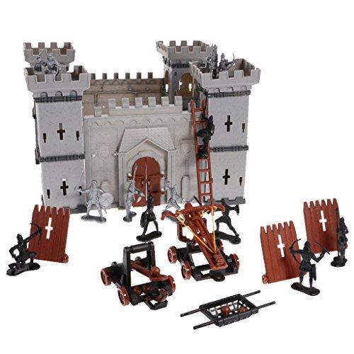 Schlossbaukasten Schloss Bausteine Konstruktionsspielzeug mit Soldaten Figuren Siege Shields Armbrust und Katapult
