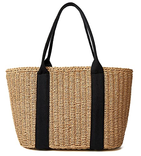 Women Straw Bags Summer Beach Tote Bag Handmade Woven Shoulder Crossbody Handbag