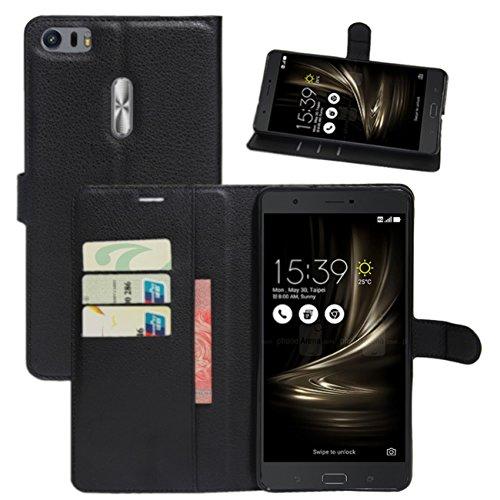 HualuBro Asus ZenFone 3 Ultra ZU680KL Hülle, Leder Brieftasche Etui Tasche Schutzhülle HandyHülle [Standfunktion] Leather Wallet Flip Hülle Cover für Asus ZenFone 3 Ultra ZU680KL (Schwarz)
