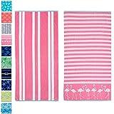 "2 PackPlushMaui Flamingo & Stripes PrintBeach Towels. 100% CottonNautical Beach Towels, Large Pool Towels.Maui Collection(30""x60"")"