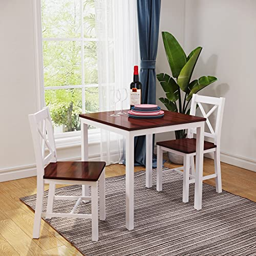 Panana Wooden Dining Table with 2 Chairs Contemporary Dining Set Kitchen Dining Room Set (X Shape Brown White)