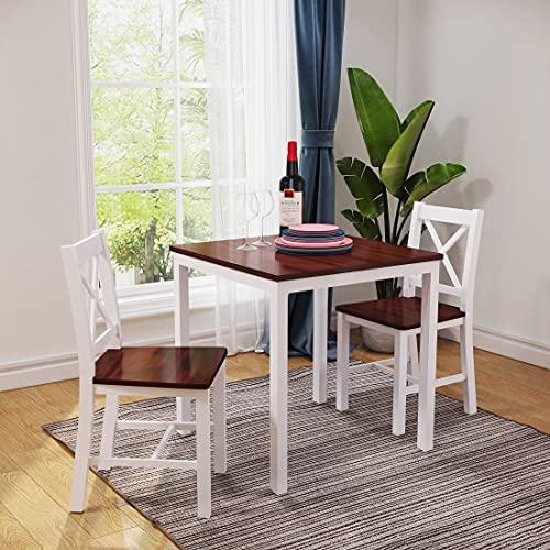 Panana Esszimmer-Set aus Holz mit 2 Stühlen, modernes Esszimmer-Set (X-Form, Braun / Weiß)