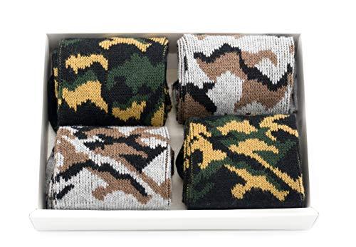  4 Paar Camouflage Sneaker Socken für Herren und Jungen, stylisch warme Wintersocken mit Armee militärische Tarnung Design beste Geschenkideen für Freund neu Trend Skater Einheitsgröße 39-43