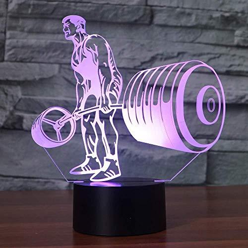 Luz nocturna 3D LED Luz de Noche Barra con pesas regalo de cumpleaños para jóvenes, niñas Con interfaz USB, cambio de color colorido