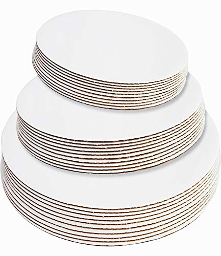 30-Pack White Cake Board Rounds,Circle Cardboard Round Base 6 ,8 and 10 inch, Disposable Coated Cake Plate 10 of Each Size