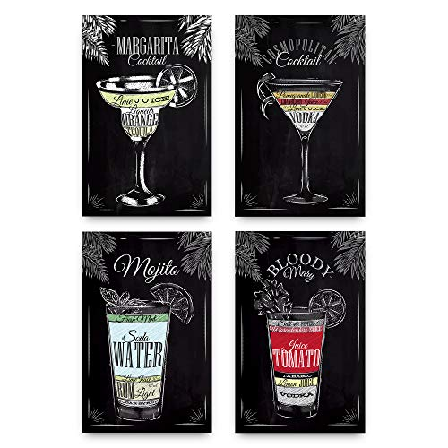 Set of 4 Vintage Chalkboard Decorative Poster Set Of Cocktails And Drinks Perfect To Decorate The Ambiance Of A Bar, Restaurant, Pub, Lounge, Or House - 11x17