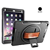 NEW TRENT iPad Case for iPad 6th Generation Cases, iPad Air 2 Case, iPad Air case, Full-Body Hand Strap iPad 5th Generation case with rotational Kickstand Dual Layers Built-in Screen Protector