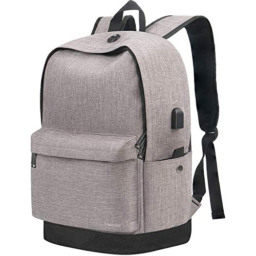Travel Laptop Backpack,Business Water Resistant Anti-Theft College Middle School Computer Bag with USB Charging Port for Men Womens Boys Girls Gifts Fits 15.6 Inch Laptop,Grey
