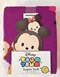 Tsum Tsum Super Soft Throw Blanket Featuring Stacked Collage of Characters on a Bright Purple Background