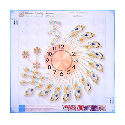 DBSUFV Peacock Crystal Metal Clock Silent 3D Wanduhr Peacock Diamonds Dekorativer Uhrendurchmesser 60 cm