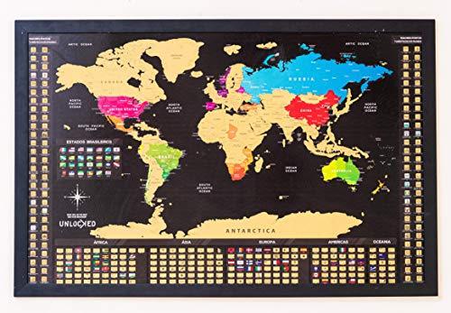 Mapa Mundi de Raspar 94X60 cm | Unlocked | Sem moldura | Scratch off Mundi Map | Mapa Raspadinha