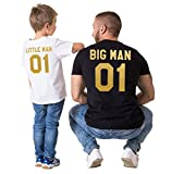 Epic Tees Big Man&Little Man Back Print Family T-Shirts(Black/White)-2XL / M