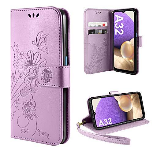 ivencase Handyhülle Kompatibel mit Samsung Galaxy A32 5G Hülle Flip Lederhülle, Handyhülle Book Hülle PU Leder Tasche Hülle & Magnet Kartenfach Schutzhülle (Helles Lila)