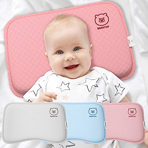 BEARPROTECT Baby Kissen gegen Plattkopf von BEARTOP | orthopädisches Lagerungskopfkissen | Memory Foam | Baby Geschenk | 2 Bezügen | Kinderwagen | Zufriedenheitsgarantie (3 Jahre)*