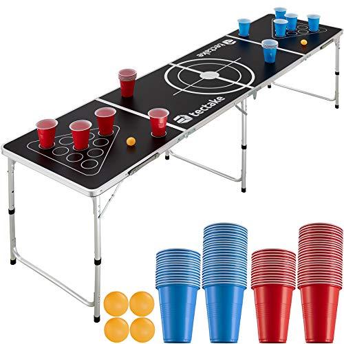 TecTake 403852 Bier Pong Tisch Set, inkl. 100 Becher (50 Rot & 50 Blau) + 6 Bälle, Beer Pong Table aus Aluminium, klappbar mit Tragegriffen, höhenverstellbar, für Partyspiele Trinkspiele Festivals
