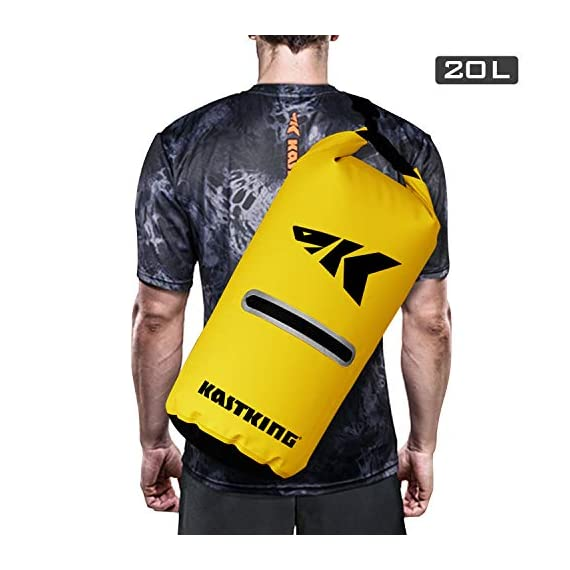 Kastking cyclone seal dry bag - 100% waterproof bag with phone case front zippered pocket, perfect for beach, fishing, kayaking, boating, hiking, camping, biking, skiing 3 durable construction dry bag - designed for active water sports and dusty environments the kastking cyclone seal dry bag is rugged, flexible, and abrasion resistant. A super strong and abrasion resistant 500d pvc construction with precision ultrasonic welded seams provide a superior seal to prevent water intrusion. Provides a complete waterproof bag system for any environment. Perfect for fishing, camping, kayaking, hiking, beach, boating waterproof protection – the kastking cyclone dry bag seal system provides an extra layer of pvc to ensure a best-in-class waterproof seal on a dry storage bag. Gives you total piece of mind to protect your valuable items from getting wet. Also has special splash-proof outer zipper pocket. Heavy duty - tough, resilient spider buckle will not fatigue and break. Heavy duty self-locking clips will hold oversize loads. Cyclone waterproof bag buckles and clips are made of heavy-duty nylon and will not rust in any wet conditions. Reinforced strap attachment points.