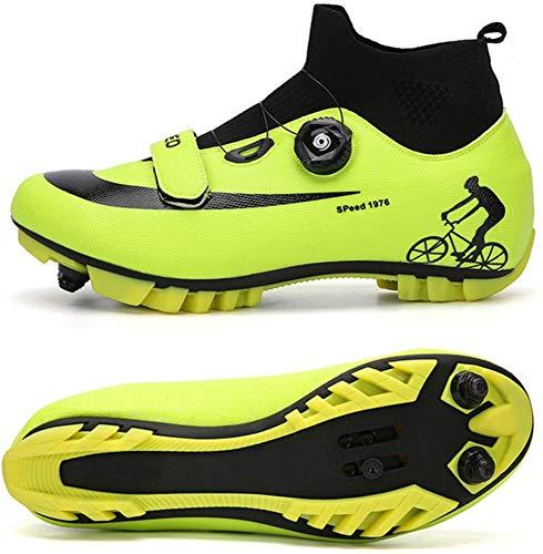 JINFAN Scarpe da Ciclismo MTB da Uomo,Scarpe da Mountain Bike con Serrature Scarpe per Sport Invernali da Uomo E da Donna/Suole in Nylon,Green-EU42
