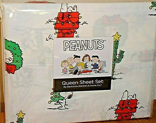 Peanuts Snoopy Queen Sheet Set by Berkshire Christmas Lights,Wreaths+Spike!
