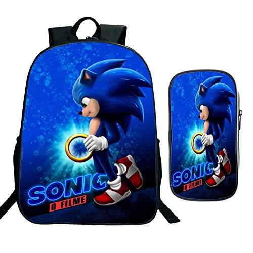 XINQIANG Mochila Sonic 2pcs/set Niños Sonic Mario Kindergarten Mochila Niños Escuela Bolsa Niño Dibujos Animados Bookbag Inicio Escuela Regalo (Rucksack+Pen Bag)