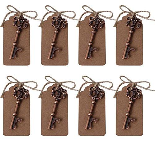 Abrebotellas AmaJOY con forma de llave con tarjeta e hilo de cobre, decoración rústica y recuerdos para boda, 40 unidades