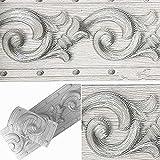 Papel pintado 3D con diseño de flores grises, autoadhesivo, impermeable, para baño, sala de estar, cocina, pared de 10 cm por 5 metros
