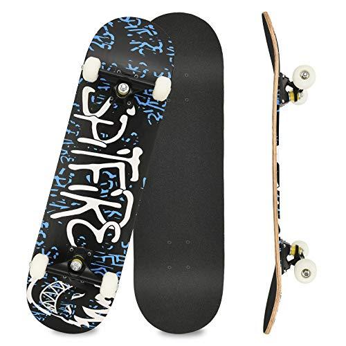 Komplettboard Skateboard 31x8 Zoll Cruiser Skateboard für Kinder Jugendliche Erwachsene, 7-Lagiger Kanadischer Double Kick Deck (Action)