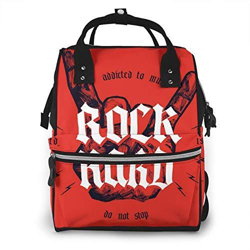 Bolsa para Cambiar Al Bebé Bolsa para Cambiar Pañales Mochila Gran Capacidad Impermeable Mochila para El Cuidado Del Bebé Música Rock Hard Medieval