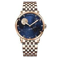 AGELOCER スイスメンズ 腕時計 トップブランド ブルー 自動巻き 男性 ムーンフェイズ パワーリザーブ 機械式 紳士用 ファッション ラグジュアリー サファイア時計 ステンレススチール/レザーストラップウォッチ (6404D9ローズブルースチール)