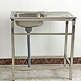 Fregadero comercial, fregadero de una sola taza de acero inoxidable con escurridor Lavabo de cocina para bar, exterior, interior, garaje, lavandería/Silver/A