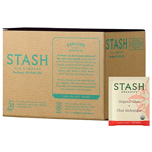 Stash Tea Organic Black and Green Tea Bags in Foil Chai Spice 100 Count (Packaging May Vary) Individual Black Tea Bags for Use in Teapots Mugs or Cups, Brew Hot Tea or Iced Tea