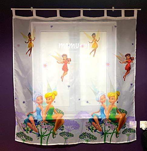Polontex Disney Gardine mit Schlaufen Tinkerbell -75 cm Breite x 160 cm Lange Kinderzimmer