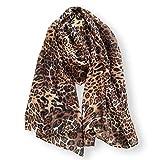 Women's Animal Brown Leopard Print Lightweight Soft-touch All Season Scarf 90x180cm (Brown Leopard)
