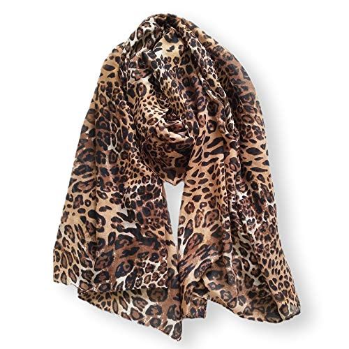 Women's Animal Brown Leopard Print Lightweight Soft-touch All Season Scarf 90x180cm (Brown Leopard)