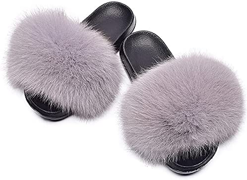 Women's Cute Fuzzy Faux Online limited product Fur Slippers Furry Open Toe Max 79% OFF Girls Slide
