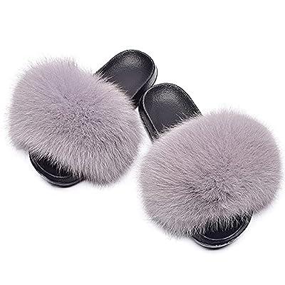 Amazon - 80% Off on Women's Cute Fuzzy Faux Fur Slippers, Girls Open Toe Furry Slides House Slippers