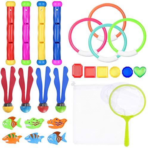 Toyvian - Lote de 26 juguetes para piscina de natación/buceo submarino de colores para regalo de formación de juegos de buceo submarino